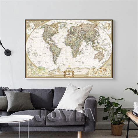 wall posters for living room aliexpress buy world map painting canvas prints large wall europe vintage earth maps