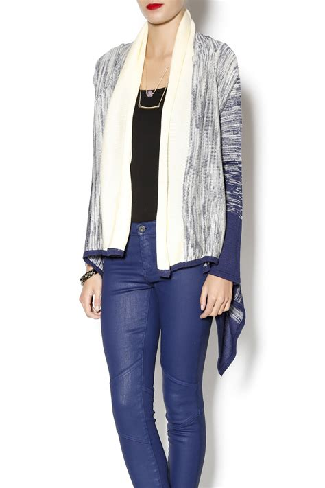 open front draped cardigan tulle draped open front cardigan from delaware by bel