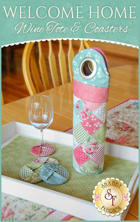 welcome home wine tote coasters pattern