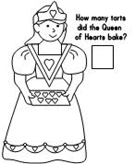 queen of hearts nursery rhyme coloring page the queen of hearts math page valentines day pinterest