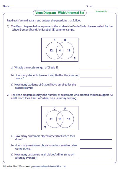 word problems sets venn diagrams venn diagram word problems worksheets two sets