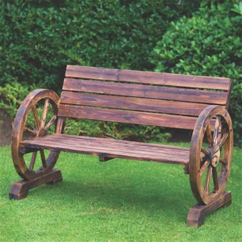 wagon wheel bench seat 2 seater burnt wood wooden wagon wheel garden patio bench