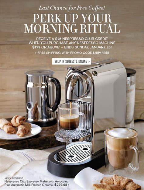 Nespresso Gift Card Discount - williams sonoma last chance for free coffee milled