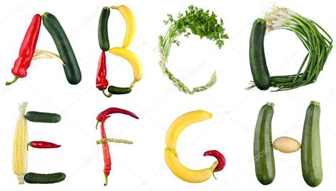vegetables 3 letters alphabet letters layed out of fruits and vegetables