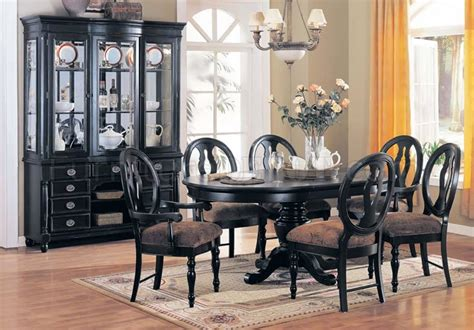 Black Pedestal Dining Room Table Classic Black Finish Dining Room W Pedestal Base Table