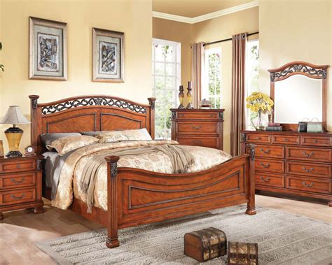 walnut bedroom furniture walnut finish bedroom set manfred by acme furniture ac22770set