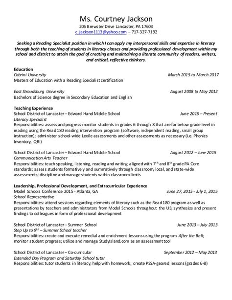 reading specialist sle resume professional reading specialist resume