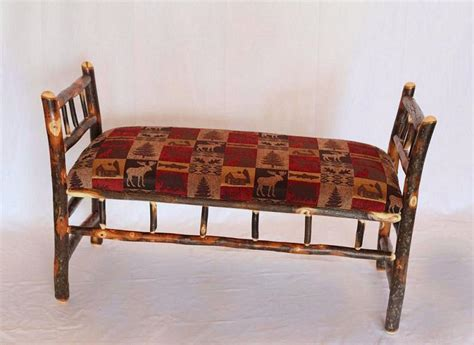 Upholstered Bench With Sides Upholstered Hickory Bench With Sides Carriage House