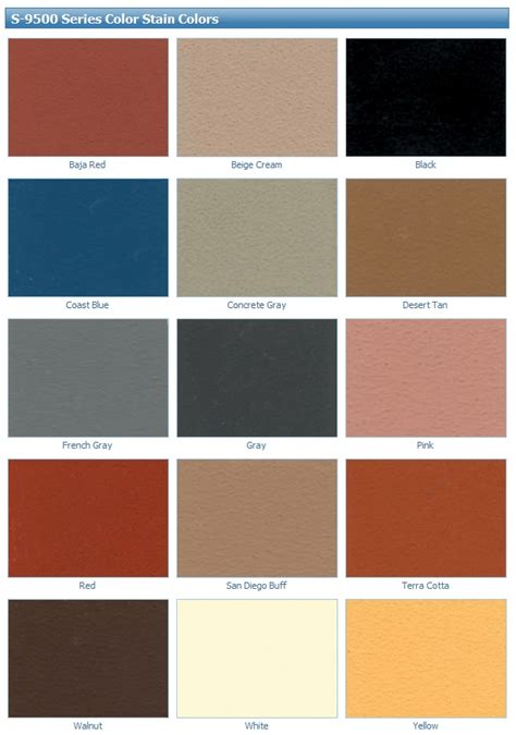 water based concrete stains color chart features fifteen coloring options for concrete floors