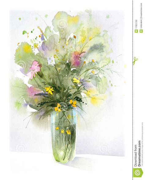 Flower Vase Glass Painting Flowers Watercolor Painting Stock Illustration Image