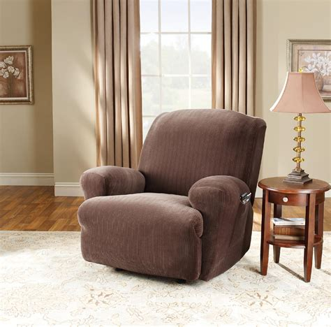sure fit recliner slipcover sure fit stretch pinstripe recliner slip cover chocolate