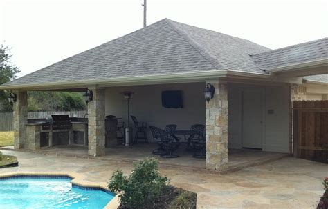 covered garage patio cover and outdoor kitchen off garage texas custom