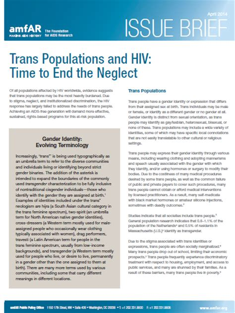 issue brief template issue brief trans populations and hiv time to end the