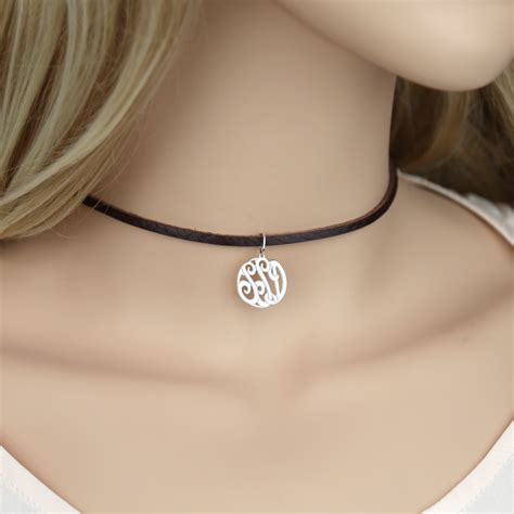 Sterling Silver Leather Necklace silver monogram jewelry leather choker necklace buy now