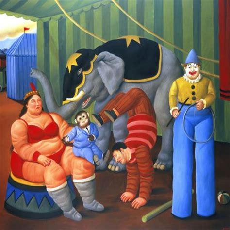 cuadro botero cuadro de botero gente del circo con elefante