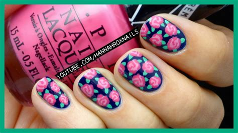 easy nail art roses easy rose print nail art with just a toothpick youtube