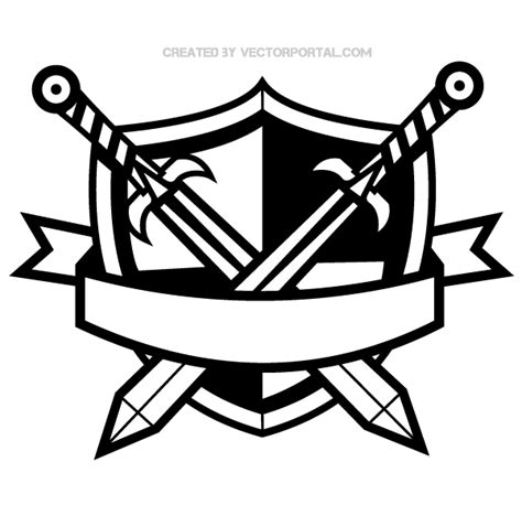Blue Cross Blue Shield shield with swords clipart 36