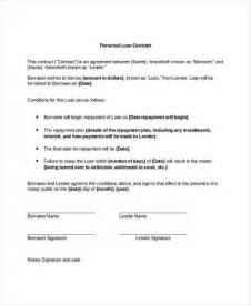 loan contract template 9 loan contract templates free sle exle format