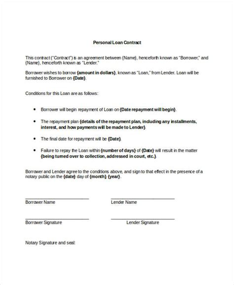 personal loan agreement contract template 9 loan contract templates free sle exle format