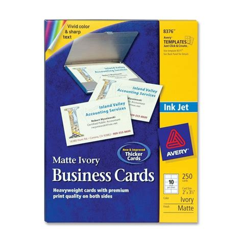 Avery 8376 Inkjet Business Card A8 2 Quot X 3 50 Quot Matte 250 Pack Ivory Ave8376 Business Office Depot Business Card Template 8376