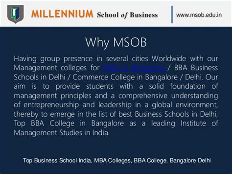 Entrepreneur Mba Colleges In India by Millennium School Of Business Msob Top Business
