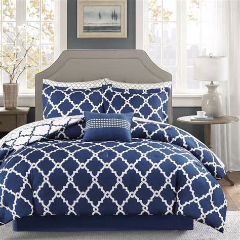 Navy Bed by Geometric Chic Design Navy White Reversible Cal King