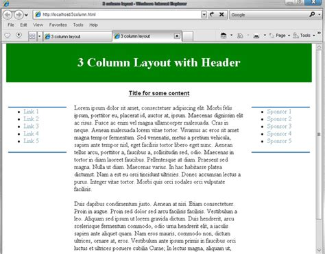 layout editor absolute css three column layout with header absolute