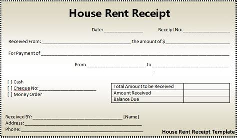 rent receipt template free printable documents