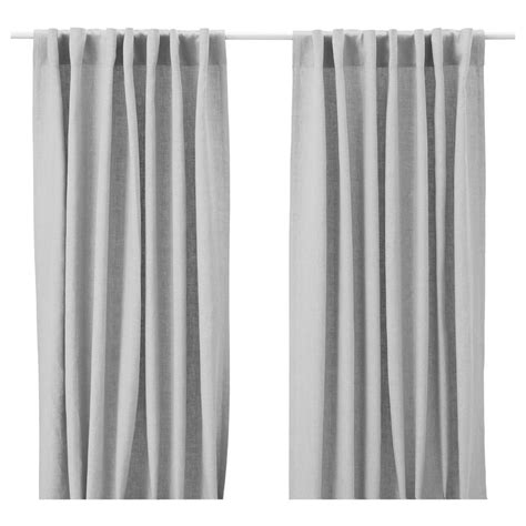 Gray Linen Curtains Ikea Aina Pair Of Window Curtains Linen Drapes Gray 2 Panels Light Grey New Nip Ebay