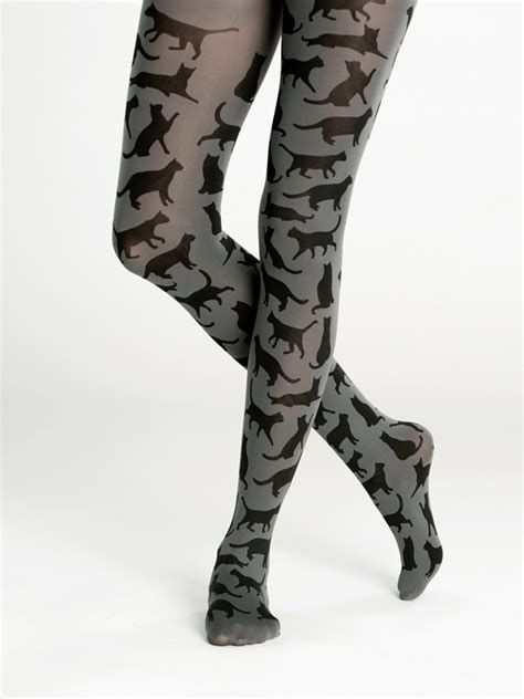 Cat Printed Tights cat silhouette tights virivee tights