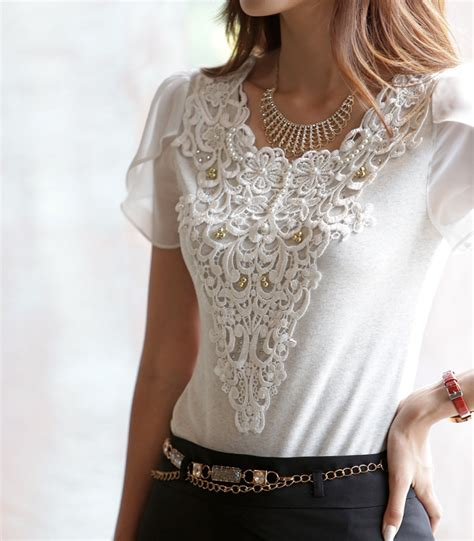 Lace Blouse With Tile new korean fitted petal sleeve lace blouse