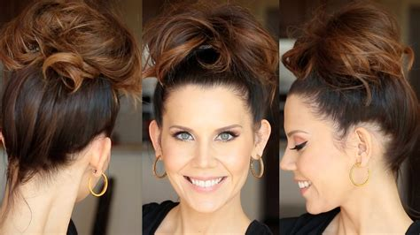 how to do messy hairstyles for long hair quick messy bun for long hair youtube