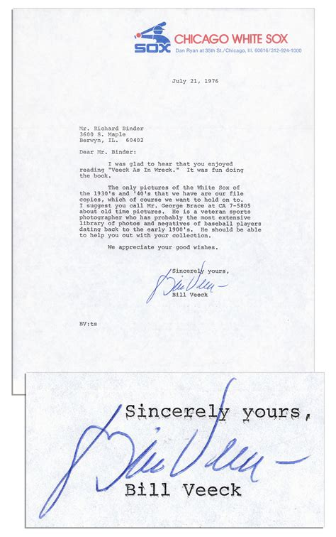 Official Letter Glad To Hear From You Lot Detail Of Famer Bill Veeck Typed Letter Signed I Was Glad To Hear That You