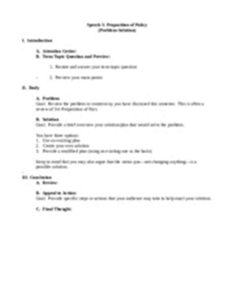 Propositional Speech Outline by Strc 1111 Speech 5 Proposition Of Policy Comparative Advantage Outline Format Goal Argue