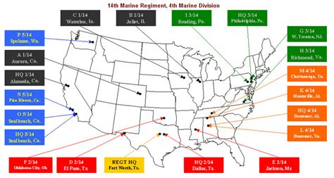 marine corps bases in the united states map 14th marine regiment 14th marines