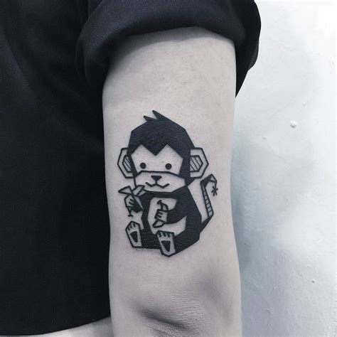 cute monkey tattoo designs 66 bold blackwork tattoos by greemtattoo page 4 of 6