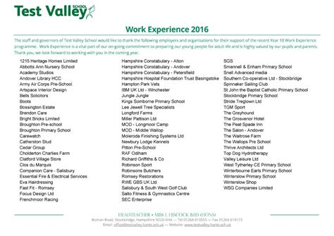 Work Experience Thank You Letter School Test Valley School Work Experience 2016 Thank You To Employers