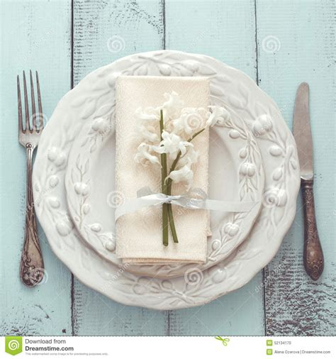 Shabby Chic Table Setting Stock Photo   Image: 52134170