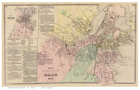 salem usa map salem massachusetts 1872 town map reprint essex co