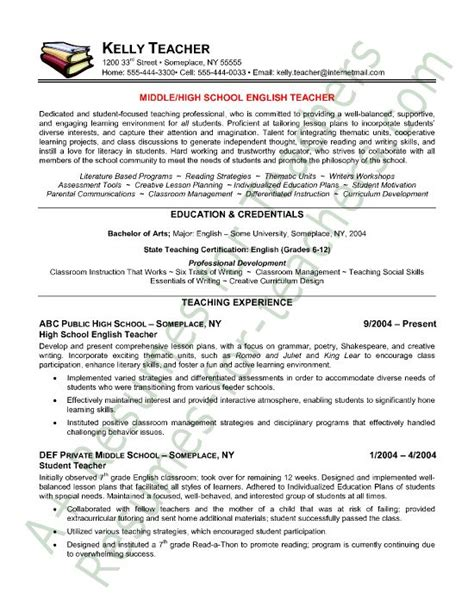 resume sles for teachers with experience resume resume sle