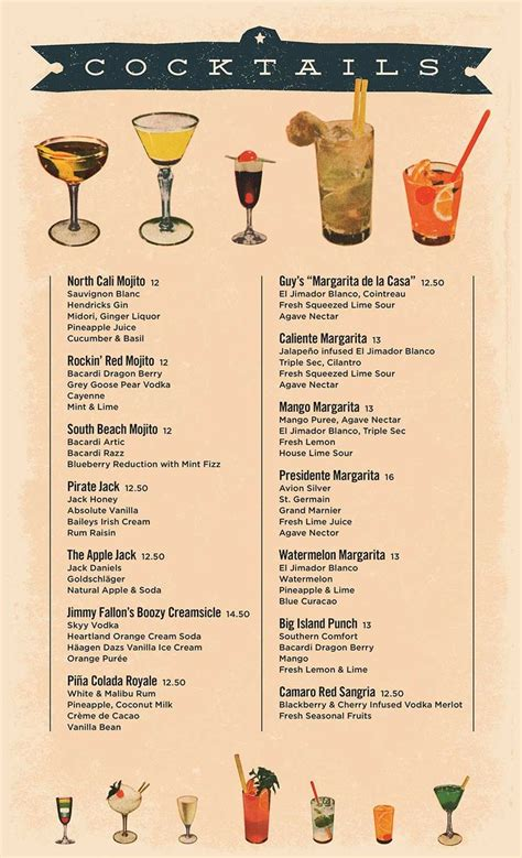 cocktail menu menu designs - Cocktail Menu
