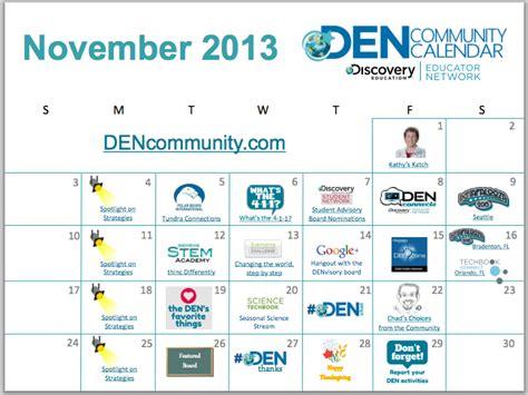 Nov 2013 Calendar November Den Community Calendar Discovery Education