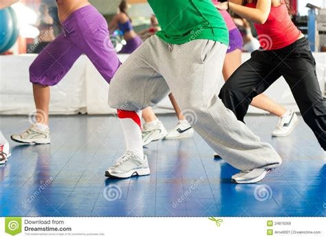 zumba tutorial online fitness zumba dance training in gym stock photo image