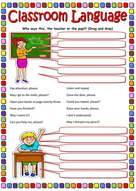 Open Sans Light Classroom Language Interactive Worksheet