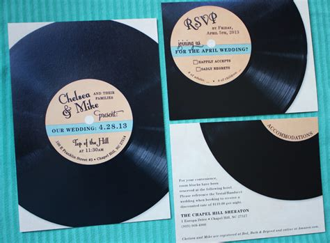 vintage record wedding invitations teal orange vintage record wedding invitations