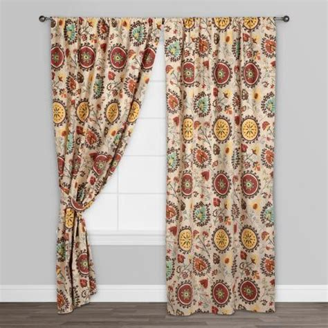 world market drapes gold and red suzani cotton curtains set of 2 world market