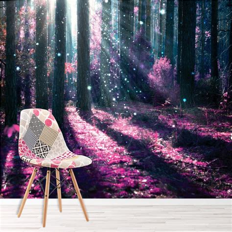 enchanted forest wall mural purple tree photo wallpaper
