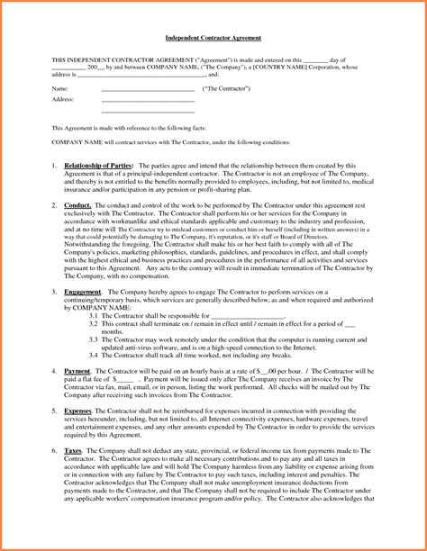 contractor contract template 6 sle independent contractor agreement sales report