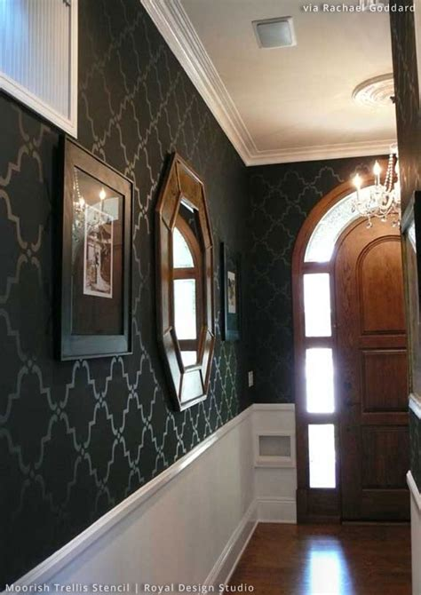 stylish entryway ideas using wall stencils paint pattern