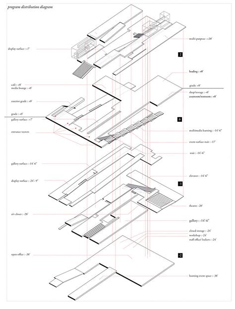 exploded floor plan exploded circulation and floor plate axonometric